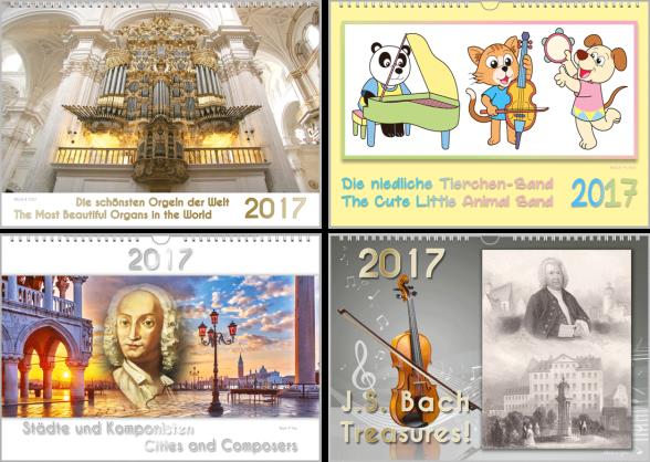 4 Musikkalender. Links oben ist eine weiß-goldene Orgel, rechts oben musizieren 3 gezeichnete Tierchen. Links unten erkennt man Venedig im Hintergrund und Verdi als Portrait in der Mitte, rechts ist eine Bach-Postkarte und links eine Violine.