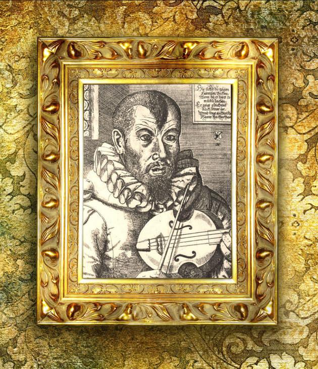 Zum Kapitel Bachorte und Bachstädte sieht man in einem überdimensionierten goldenen Rahmen das Bild von Hans, einem Spielmann. Er hat ein Instrument, eine Art Geige, und sieht finster zum Betrachter.