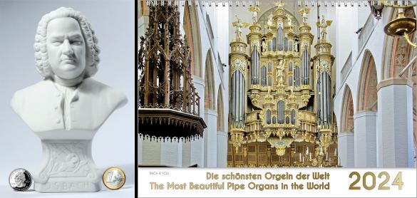 Man sieht 4 querformative sehr bunte Kalender. Links oben ist ein Orgelkalender, rechts daneben musizieren 4 Tierchen, gezeichnet auf einem Kinderkalender, unten links ist Verdi vor Venedig und unten rechts ist ein Bach-Kalender.