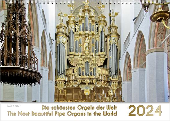 4 Querformat-Musikkalender sind zu einem Rechteck angeordnet. Links oben ist ein Orgelkalender in den Farben weiß/gold, rechts daneben ein Kinderkalender auf dem 3 gezeichnete Tierchen musizieren, links unten Verdi vor der Kulisse von Venedig, rechts Bach