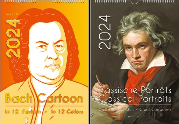 """Man sieht einen senkrechten Bach-Kalender. Er ist ultramodern, auf der Basis des Haußmann-Bildes, links oben steht riesig die Jahreszahl. Unten steht der Titel """"Bach Cartoon 12 Farben  - In 12 Colors"""""""