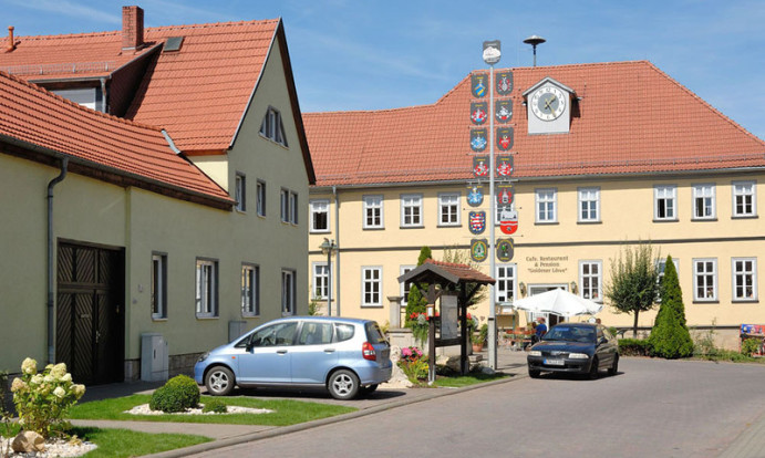 """Das Gasthaus """"Goldener Löwe"""" im Bachort Wechmar. Es ist gelb. Davor sieht man einen Maibaum. 2 Autos parken, man sieht auch Grünfläche und im Vordergrund ist links ein Haus. Rechts unten ist Strasse."""