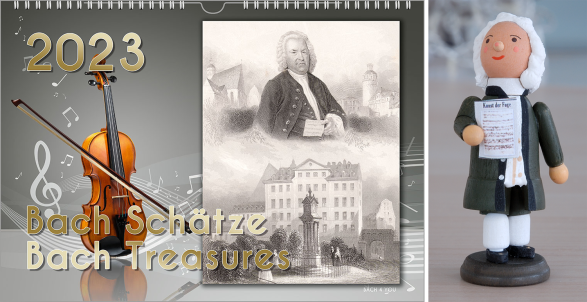 A Bach Calendar, a music calendar, a music gift: on the left side you see a violin on a grey background, on the right side there is a vintage postcard showing Bach. In the lower part is the title of the calendar.