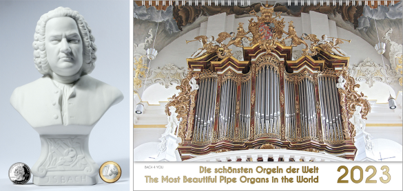 A pipe organ wall calendar is displayed as a landscape format calendar. It's a dream of a white-golden baroque pipe organ, which fills 9/10 of the calendar. The lower part is the title in golden letters on white background.