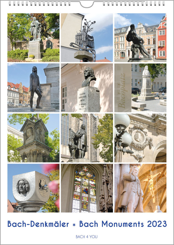 """It is a Bach Calendar, better a Bach monuments calendar. The title page is 4 rows with 3 photos each and shows the pictures of 12 Bach monuments. The title is """"Bach Monuments""""; it is an upright format with the year in the lower right corner."""