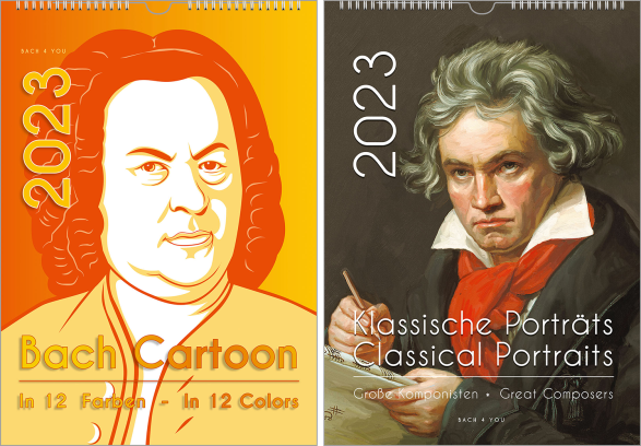 """It is a Bach calendar, a music calendar. It's a very modern and hip painting of Bach in orange and yellow shades. On the left side in the upper part is the huge year number, and at the bottom you read """"Bach Cartoon""""."""