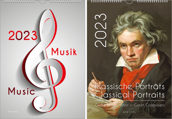 """A composers calendar, upright format, a music gift. On the whole page it's a classical Beethoven painting. In the lower part is the title """"Classical Portraits"""", in the left upper corner is the publishing year."""