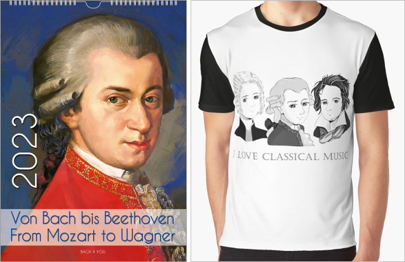 """On a composers calendar Mozart is presented as the famous painting. The background is in blue shades. The title of the composers calendar is """"Von Bach bis Beethoven, from Mozart to Wagner. On the left side, the gigantic publishing year is visible."""