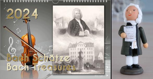 """Im Bild ist ein Bach-Kalender dargestellt. Auf der linken Seite sind auf grauem Untergrund eine Geige, ein Bogfen und die große goldene Jahreszahl sowie der Titel """"J.S. Bach Treasures"""" dargestellt. Auf der rechten Seite ist eine alte Postkarte mit Bach im"""